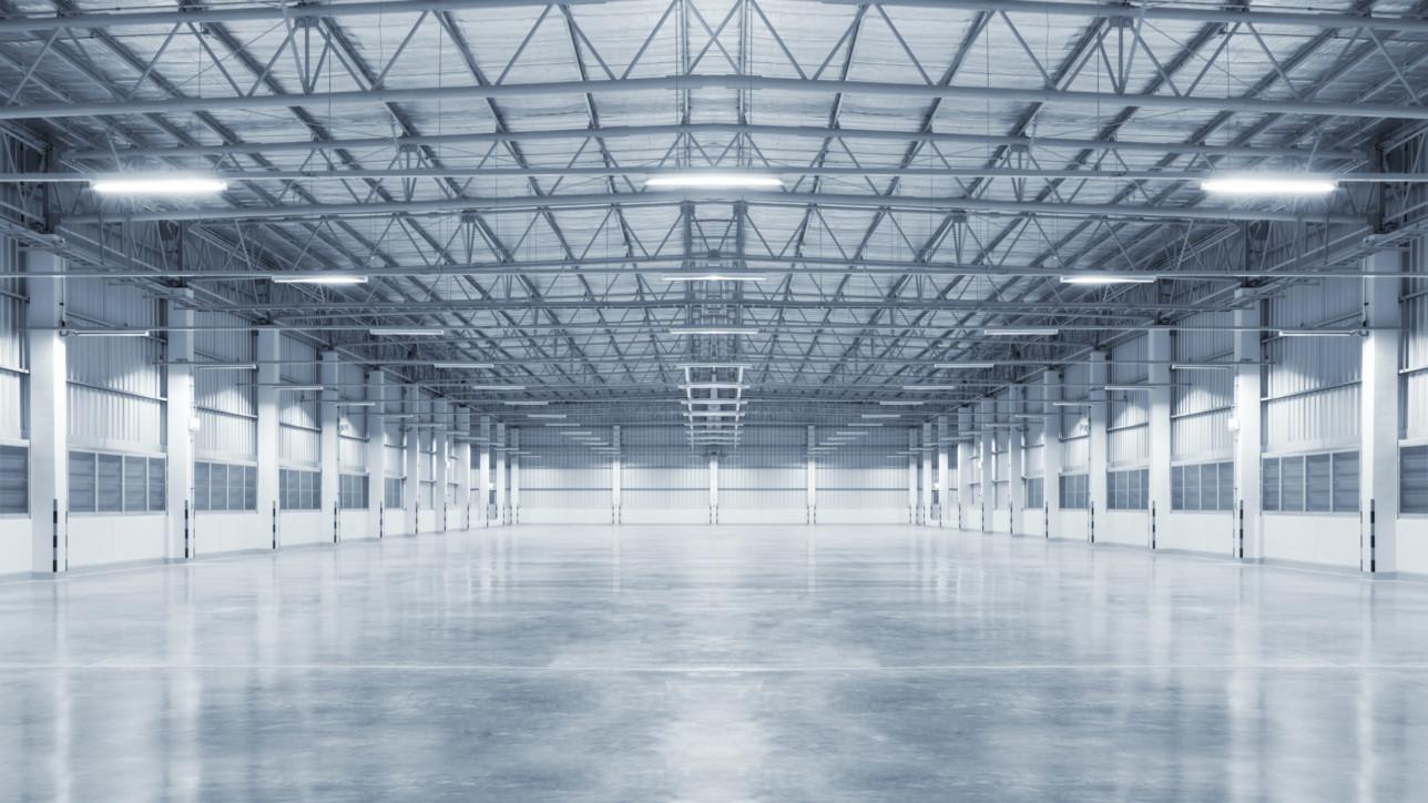 Factory background with concrete floor, night scene.